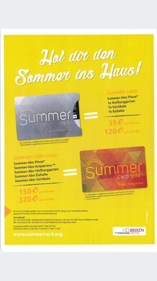 Flyer Brixner Summer card Gold Freizeitticket brixen gerold siller